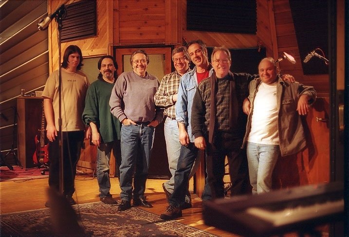 Dan, Bassist Dave Kohl, Rod Price, Kinny Landrum on Piano and Hammond Organ, Moe on Drums, Producer Tom Dawes, and Studio Owner Paul Orofino.